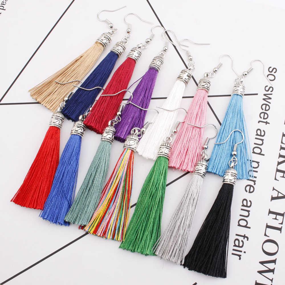 Vintage Earring For Women Bohemia Long Tassel Drop Dangle Earrings Red White Green Purple Silk Fabric Earings Ethnic JewelryTA01