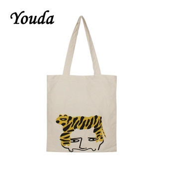 Youda 2019 New Handbag Casual Personality Printing Shoulder Bag Female Student Simple Canvas Bags Cute Ladies Shopping Tote 2017 fashion cartoon handbag tote shoulder stripe casual women ladies canvas bag simple cute mini girl bags bolsa feminina