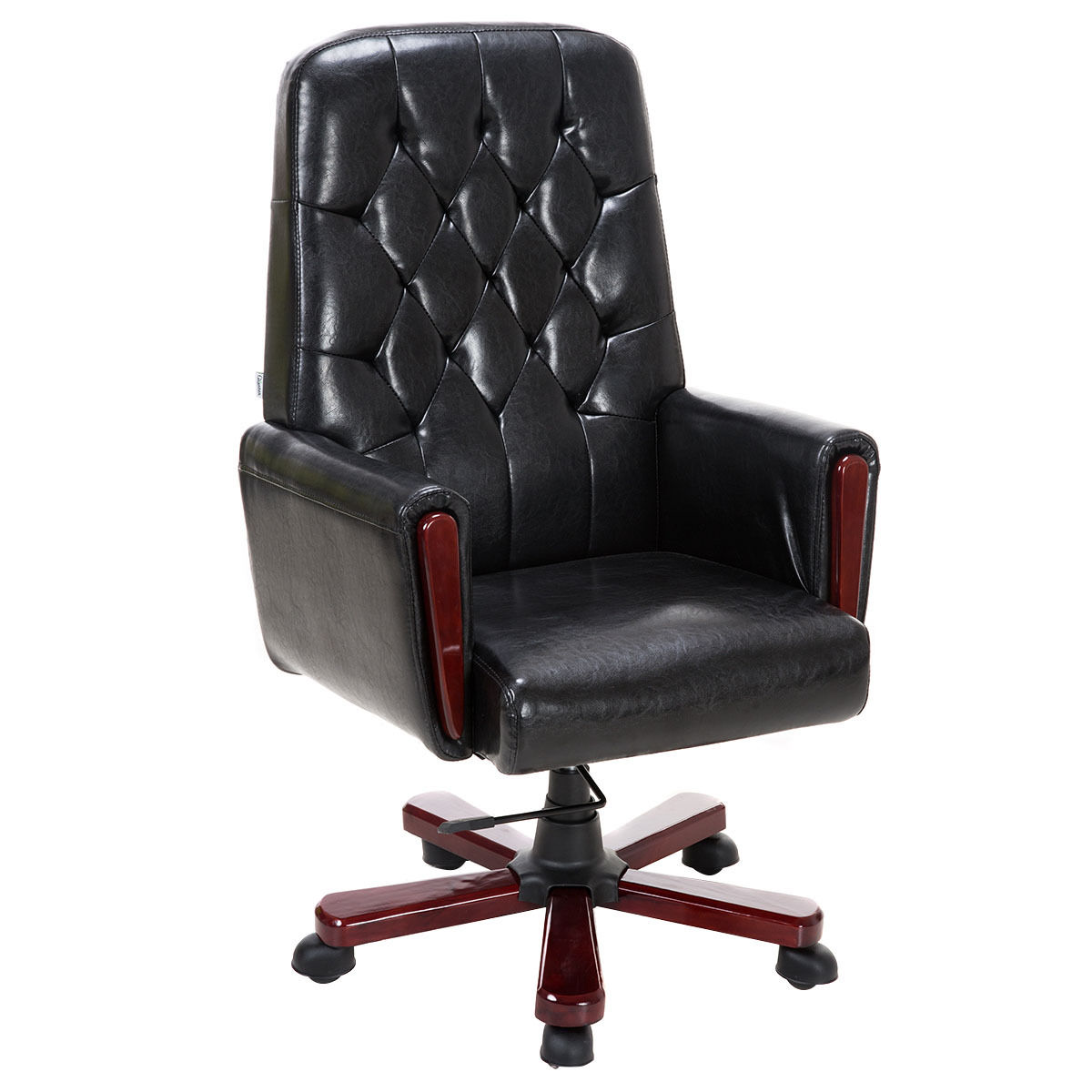 Giantex Modern High Back PU Leather Office Chair Guest Living Rooom Accent Chair Swivel Adjustable Furniture HW52604