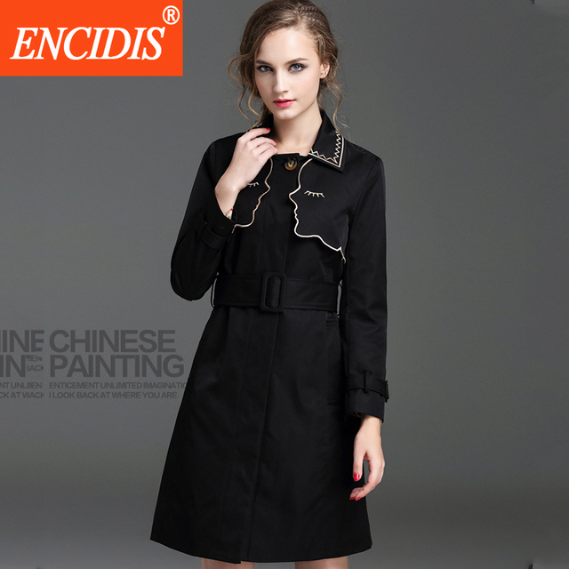 High Quality Long Trench Coat For Women 2016 New Fashion Solid Belt Slim Women's Winter Coats Turn Down Collar Coat Female F392