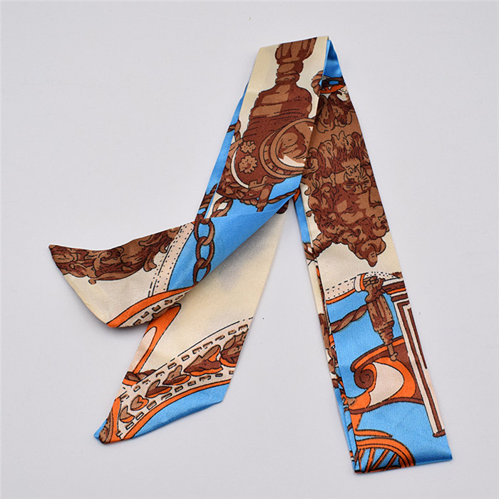 HTB1MD7VdlGw3KVjSZFDq6xWEpXal - Small Silk Scarf For Women New Print Handle Bag Ribbons Brand Fashion Head Scarf Small Long Skinny Scarves Wholesale