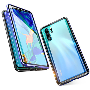 Image 5 - Luxury Double Sided Front Back Clear Glass Metal Magnetic Case For Samsung Galaxy A7 A8 A9 2018 A50 360 Degree Full Cover Cases
