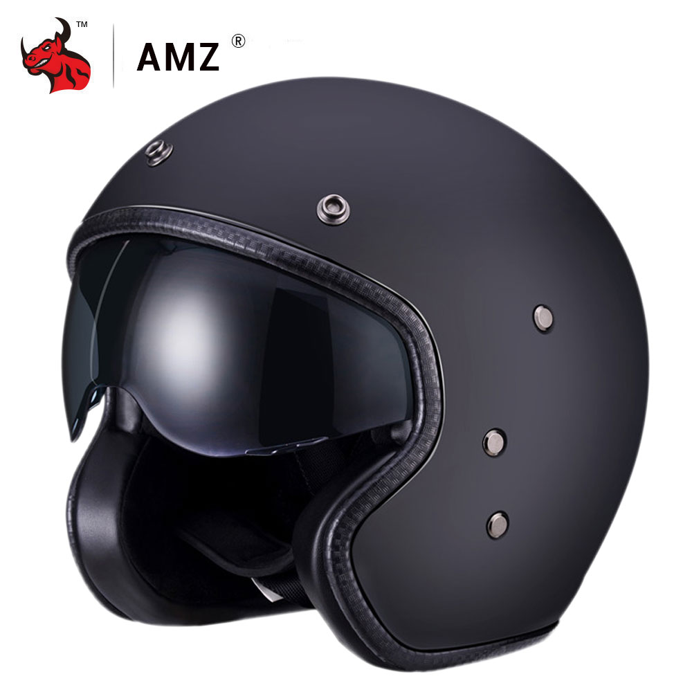 AMZ Motorcycle Helmet FRP Retro Half Face Moto Helmet Casco Casque Old School Casco Scooter Helmets With Inner Sun Visor DOT harley half open face dot motorcycle helmet skull vintage moto helmets with inner visor motocicleta capacete retro casco casque