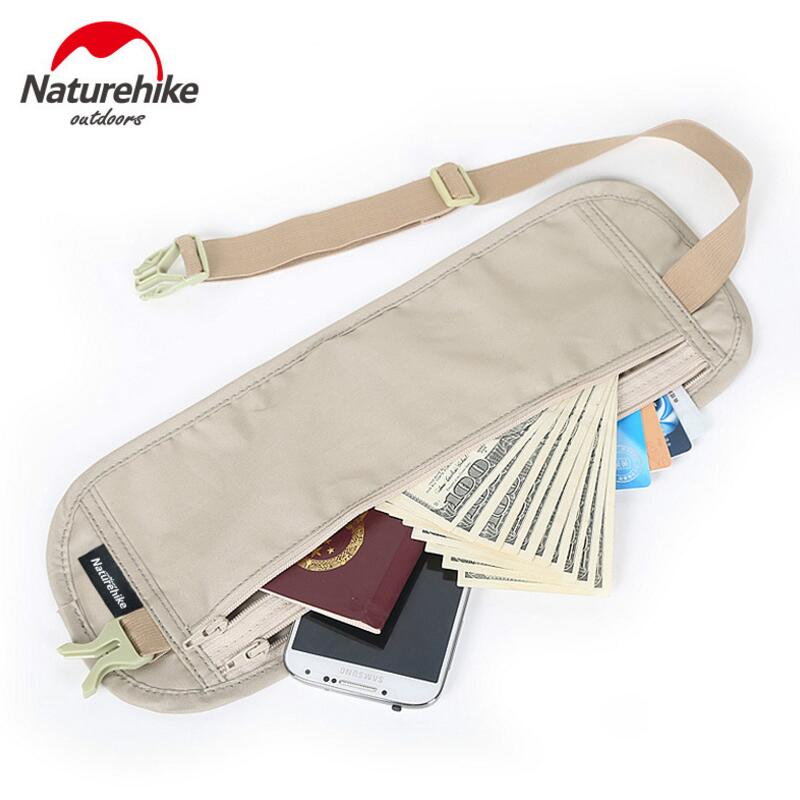 Naturehike Outdoor Travel Invisible Waist Bag Belt Light Thin Personal Travel Document Mobile Phone Theft Stealth Wallet Bags