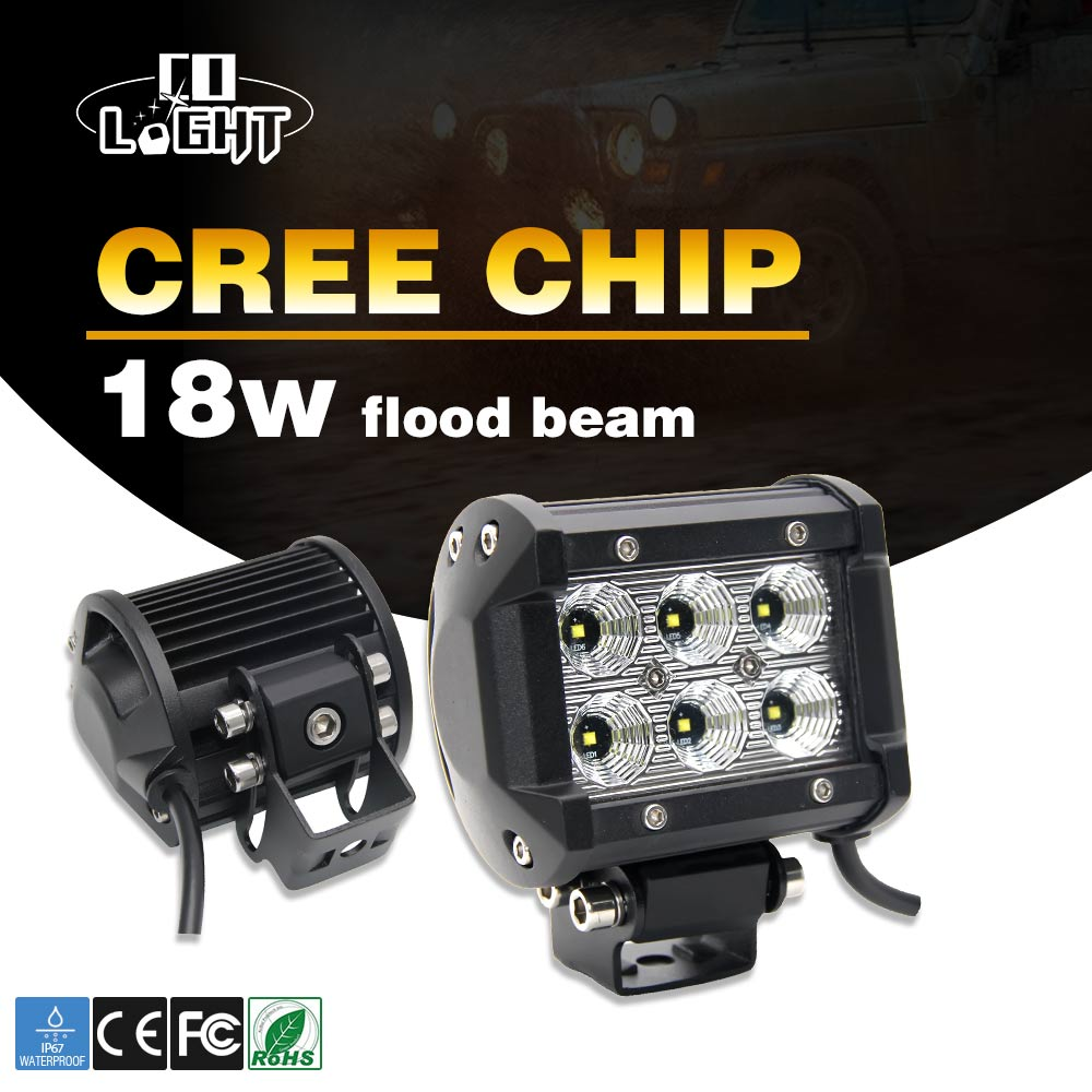 CO LIGHT 2PCS LED Work Light Bar 18W 6500K Led Chips Flood Spot Beam Daytime Running