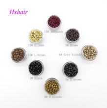 - 1000pcs 5.0mm With Silicone Aluminium links Micro Rings Beads Extension hair tools
