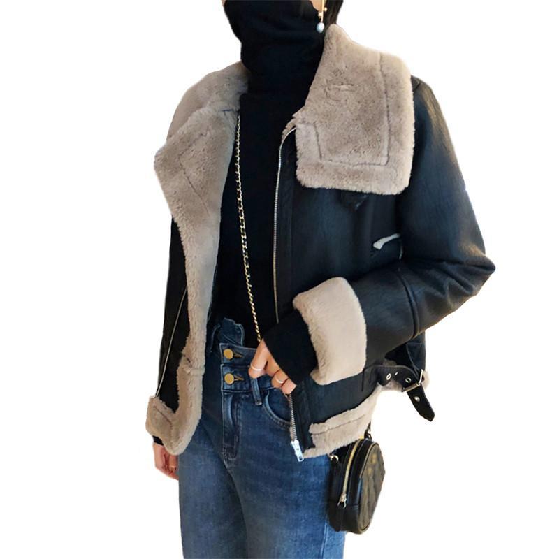 Femmes Chaud Manteaux Survêtement Nouveau Laine Hiver Casual Vestes Pu Automne 2019 Moto D'agneau En V656 Artificielle Cuir Femme rwSqAZrxP