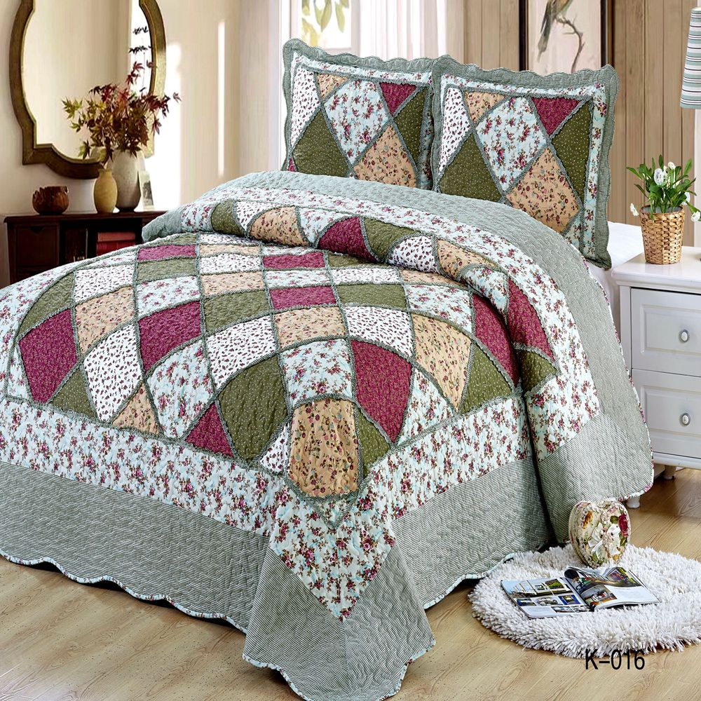 Patchwork Bedspread Plaid Cotton Quilted King Size Ruffled Bedspread Pieces Pillowcase 220*240  160*210 Size Blanket Sheet Duvet