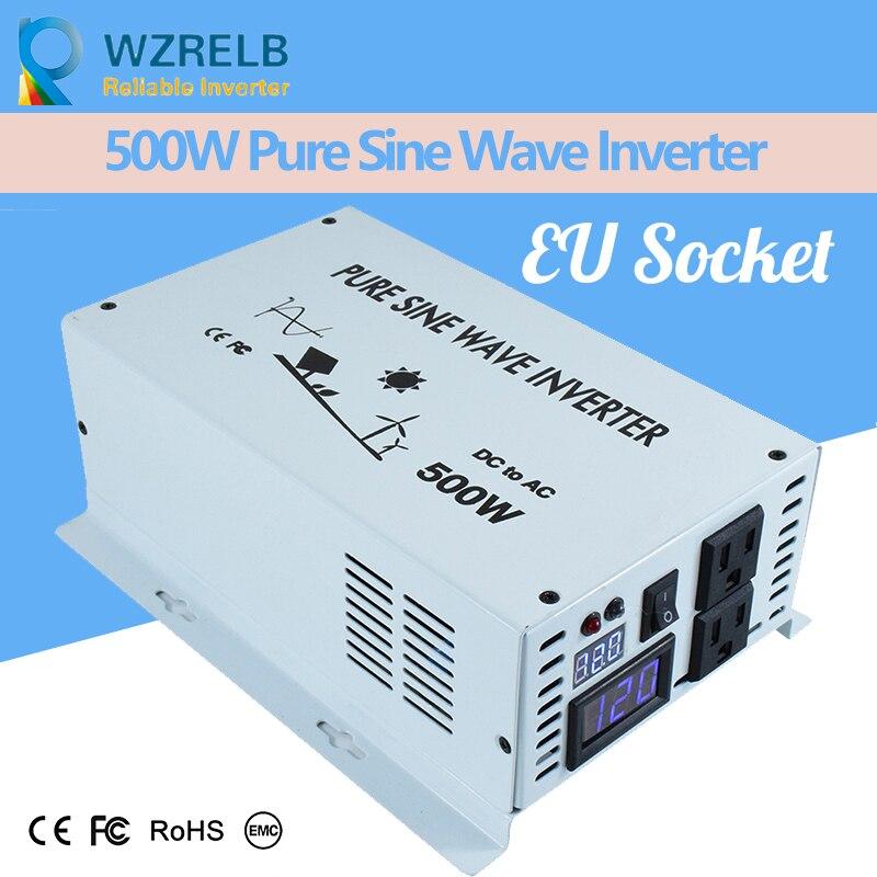 EU Socket Reliable 24Volt Inverter Pure Sine Wave Battery Inverter Charger 500W DC to AC Solar Power Inverter DC 12Volt 20%OFF