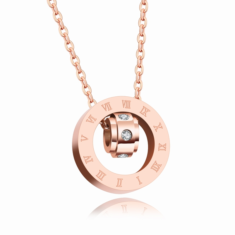 Crystals From Swarovski Bulgaria Jewelry Stainless Steel Necklace Pendant Zircon Rose Gold Circles Necklace For Women Bijoux