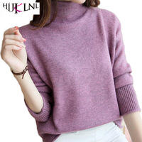 HIJKLNL Winter Women S Knitted Loose Semi High Necked Sweater Short Women Loose Shawl Sweater Pull