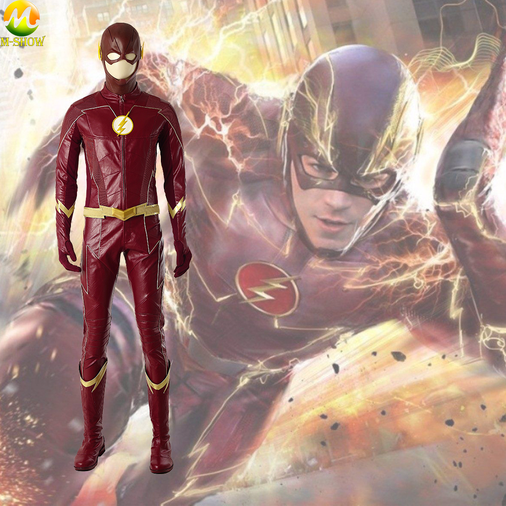 The <font><b>Flash</b></font> Season 4 <font><b>Barry</b></font> <font><b>Allen</b></font> Cosplay <font><b>Costumes</b></font> <font><b>Flash</b></font> Superhero <font><b>Costume</b></font> Halloween <font><b>Costumes</b></font> For Men Custom Made image