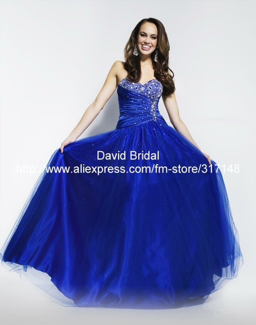 Sparkly Beaded A Line Sweetheart Organza DA015 Royal Blue Prom Dresses Made In China