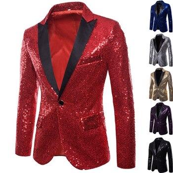 Shiny Sequin Men's Night Club Suit Male Gold Trend Performances Formal One Button Jacket Men Stage Wedding Tuxedos Blazer Men's Suit Jackets