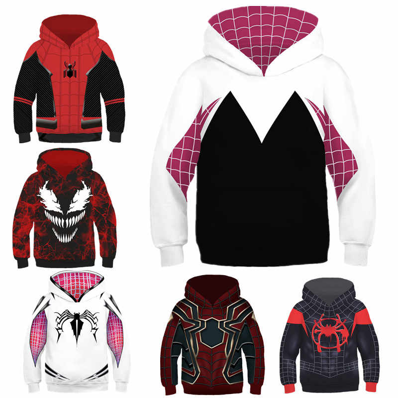 6b469fa49 Child Spider-Man Gwen Stacy Sweater Hoodie 3D The Amazing Sweatshirts  Cosplay Costume Fashion Girls
