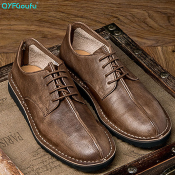 QYFCIOUFU 2019 New Fashion Spring Autumn Men Genuine Leather Shoes Vintage Men Dress Shoes Classic Lace-up Male Business Shoes