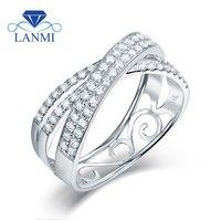 Роскошные и уточнить со стразами реальный Белое золото 14 карат обручальное кольцо для пары со специальным дизайном для жены, хорошее ювелир
