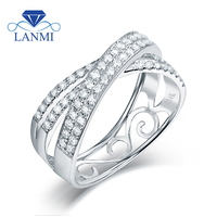 Luxury VS Clarify Diamond Real 14K White Gold Couple Wedding Ring Special Design For Wife And