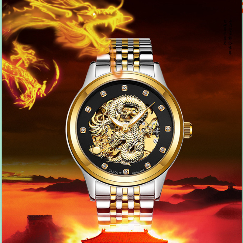 Luxury CAROTIF Men's Automatic Mechanical Watches Montre Homme Waterproof Steel Stainless Watch Men Dragon Male Clock Relogio fngeen automatic watches waterproof leather rose gold mechanical watch men male clock luminous montre automatique homme relogio