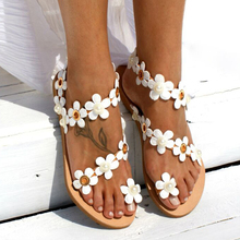Women Bohemia Flower Flat Summer Sandals Shoes Slippers Ladies Girls Gladiator Sandals Pearl Shoes Sandalias Mujer Flip Flop 44