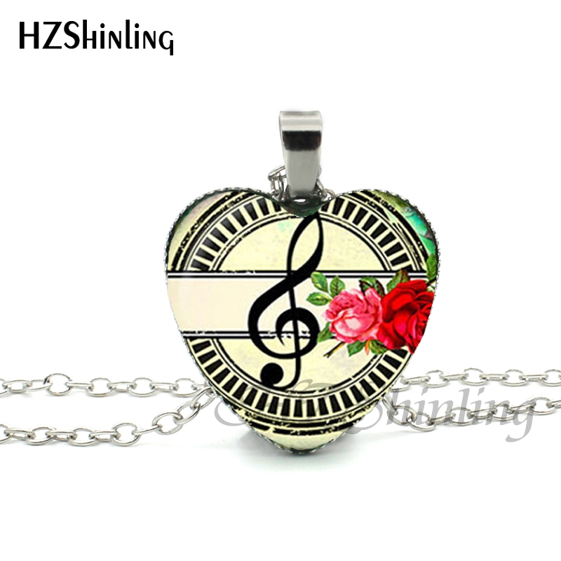 074371defe6a New Music Notes Heart Necklace Colorful Music flower Pendant Treble Clef  and Notes Jewelry Women Heart Shaped Necklace HZ3