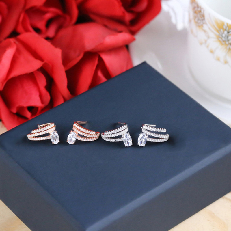 Fashion Tiny Rose Gold Women's Water Drop Ear Cuff AAA White Cubic Zirconia Clip Earrings For Female Party Jewelry 2020