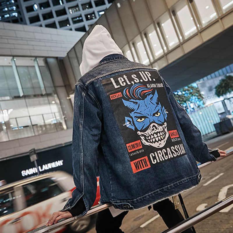 Aolamegs デニムジャケット男性クールプリント穴カウボーイ男性のジャケットカジュアルハイストリートファッション生き抜く男性ストリート秋