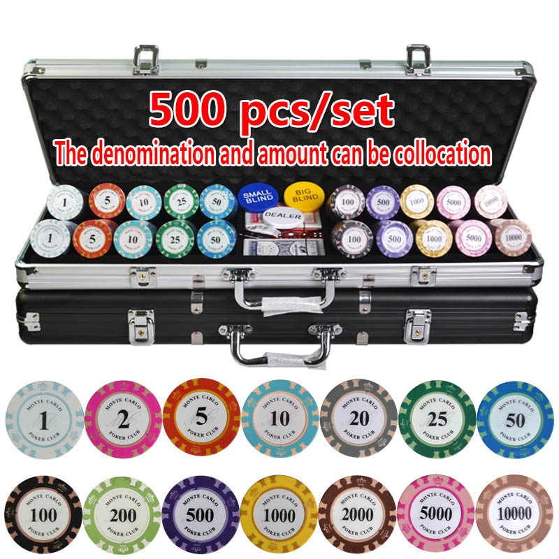 ФОТО 100-500PCS/SET Poker Chips Sets,Crown Poker Chips Colorful Clay 14color Casino Chips Texas Hold'em Poker Sets With Metal Box