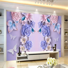 Custom wallpaper 3D three-dimensional rose embossed TV background wall Nordic mural high quality material waterproof