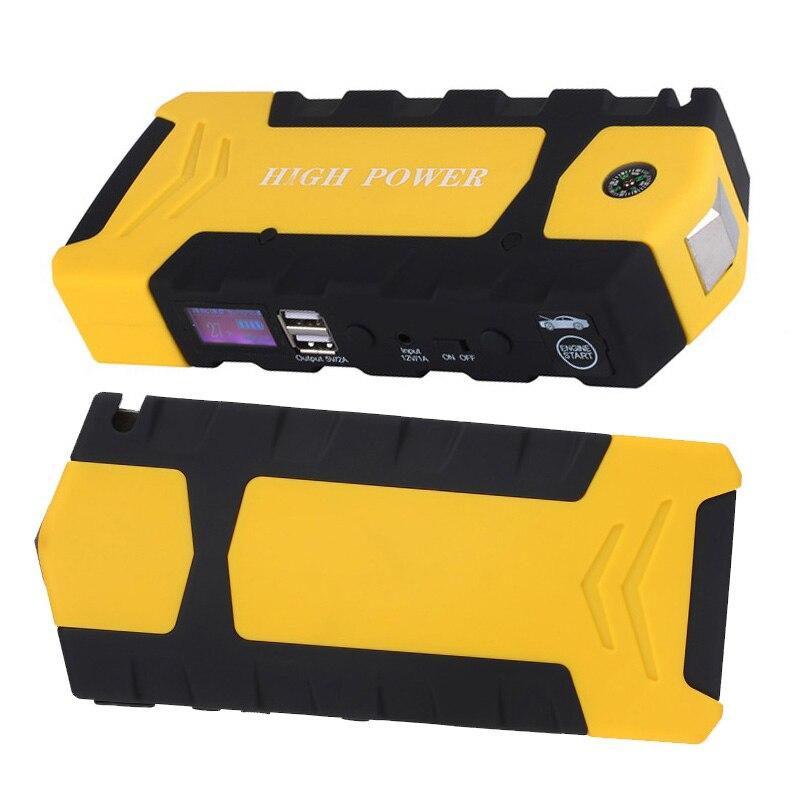 Yellow 12V 13600mah Multi-Function Car Charger Battery Jump Starter 4USB LED Light Auto Emergency Mobile Power Bank Tool Kit