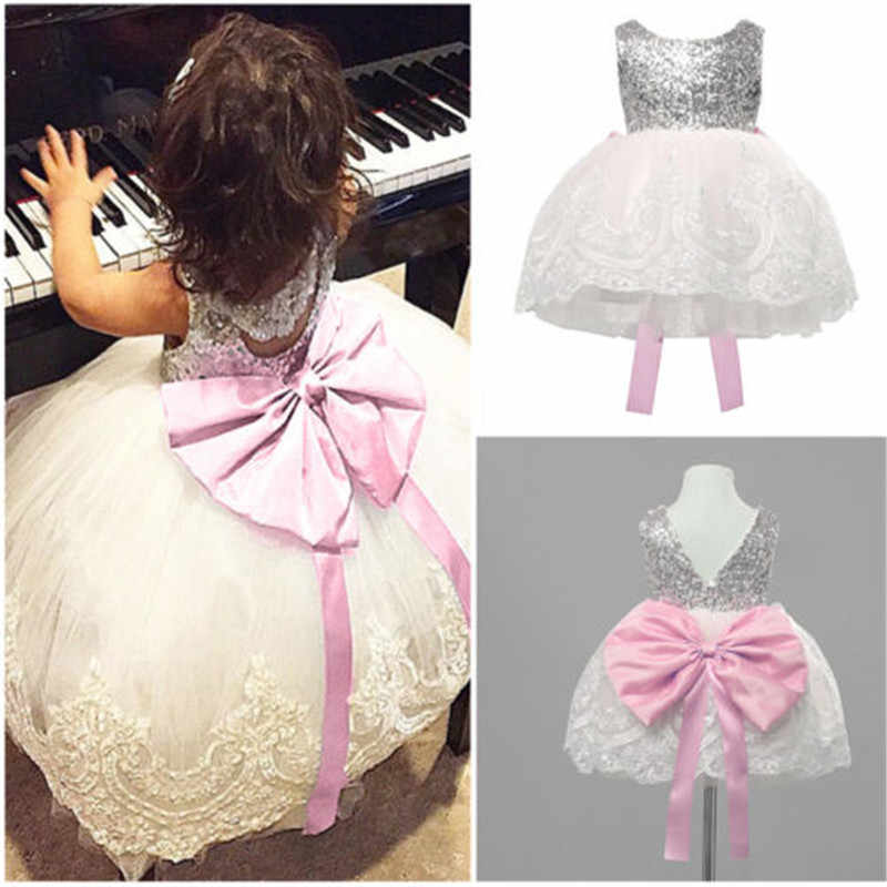 Bow Baby Girl Dress Elegant Kids Girl Chiffon Lace Tulle Tutu Dress Party Pageant Formal Gown Wedding Princess Dress Clothes