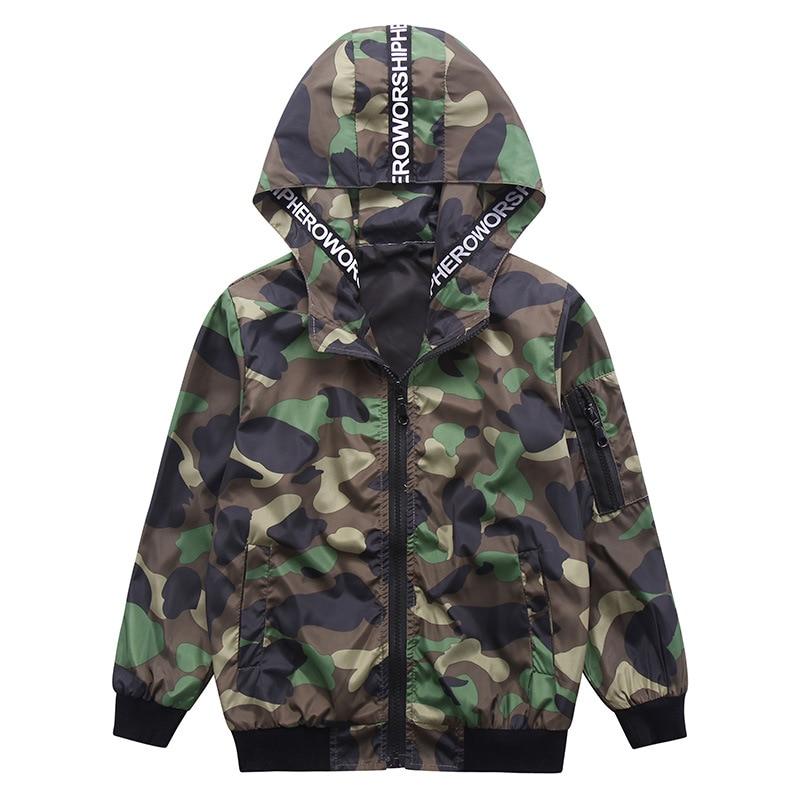 Весенняя куртка для мальчиков, топы, брендовая детская верхняя одежда, спортивные камуфляжные куртки, пальто, одежда для мальчиков, ветровка, Детская куртка с капюшоном