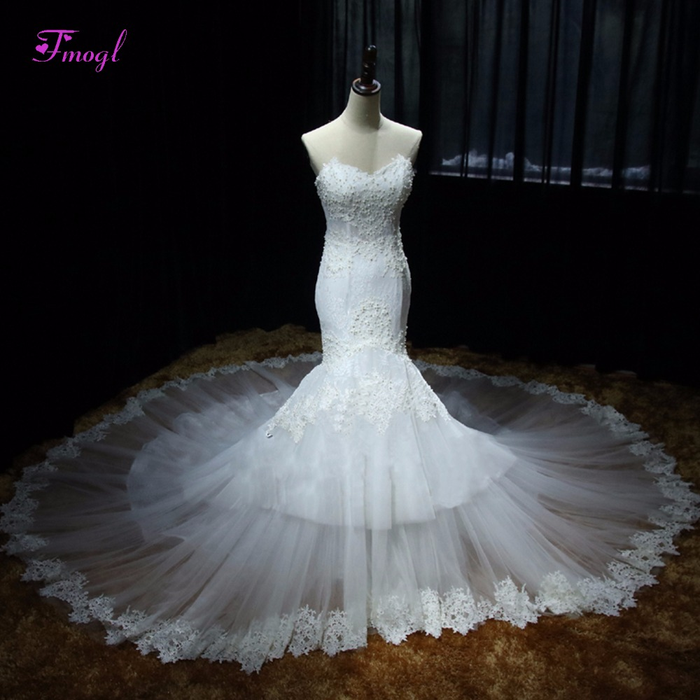 Strapless Mermaid Wedding Gown: Fmogl Elegant Strapless Appliques Mermaid Wedding Dress