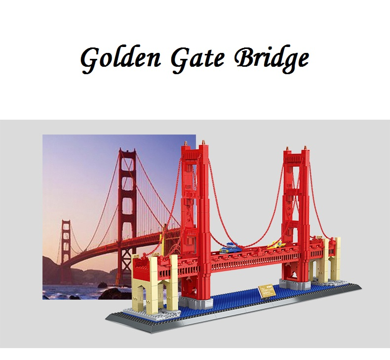 World Famous Architecture 1977pcs Wange Blocks Golden Gate Bridge Model Building Bricks set DIY Assembly Toys for Children 8023 loz mini diamond block world famous architecture financial center swfc shangha china city nanoblock model brick educational toys
