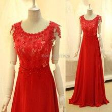 A-linie Red Lace Chiffon-Lange Elegante Abendkleider mit Perlen Appliques Formale Abendkleid vestido vermelho