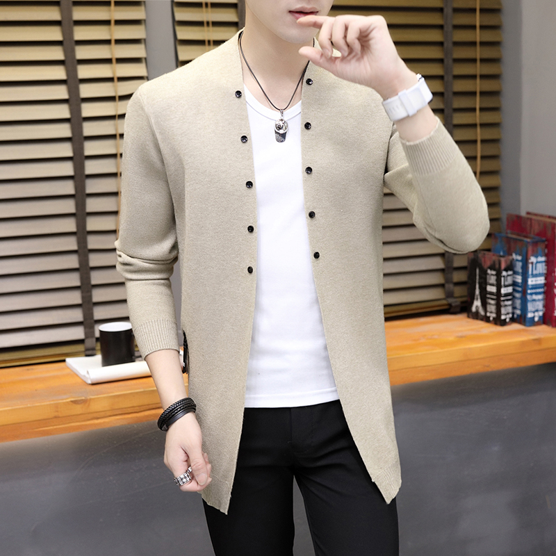 2019 Spring New Men's Cardigan Jacket Mid-long Korean Version Body-trimming Sweater Thin Jacket Knitted Sweater Man