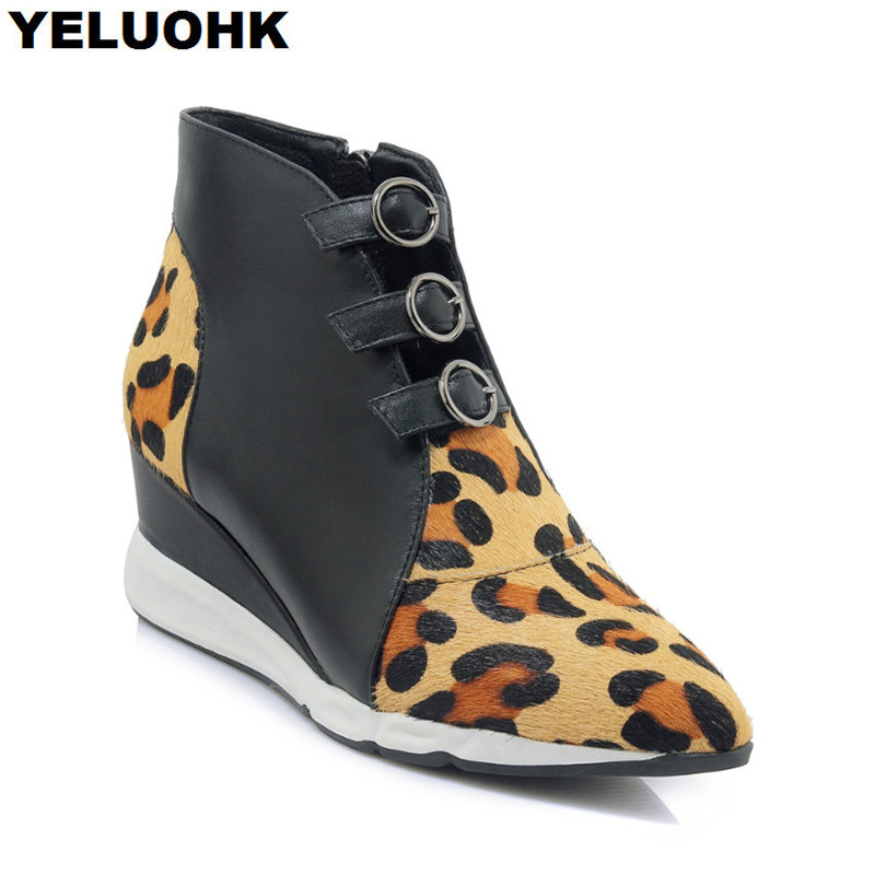 Brand New Horsehair Ankle Boots Women Wedge Shoes Fashion Leopard Pointed Toe Autumn Boots Women High Heels High Quanlity женская юбка brand new 2015 strawberry leopard 3d f e43
