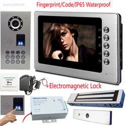 Отпечатков пальцев/код видеодомофоны IP65 Водонепроницаемый домофоны на входную дверь CCD объектив видео дверной звонок магнитный