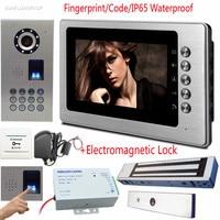 Fingerprint Code Video Intercoms IP65 Waterproof Doorphones On The Front Door CCD Lens Video Door Bell