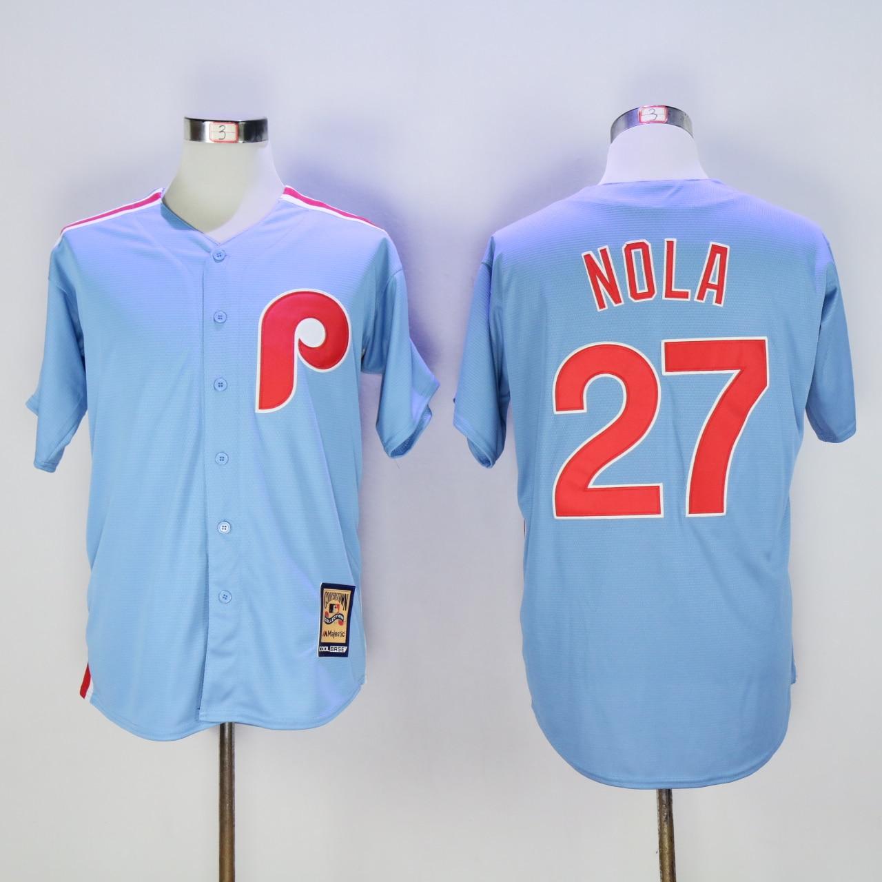MLB Mens Philadelphia Phillies Light Blue Aaron Nola Cool Base Team Jersey