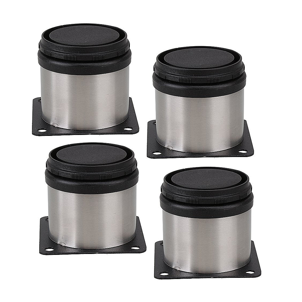 Buckles & Hooks Furniture Metal Adjustable Stainless Steel Feet Round Black And Silver 50 X 50mm Pack Of 4
