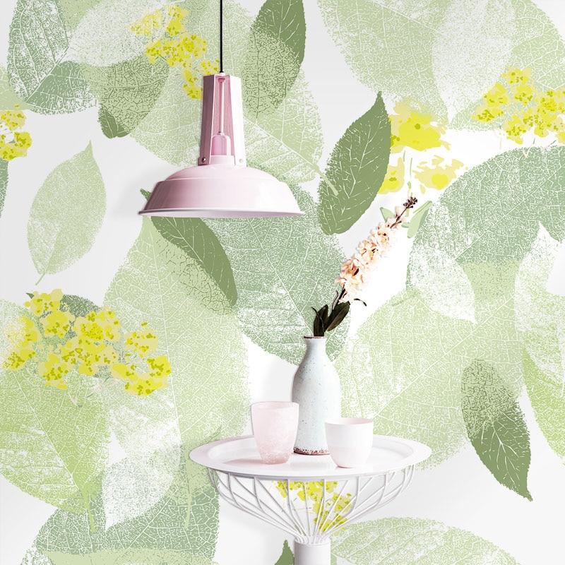 Tuya Art Light green leaf wallpaper for Living room bedroom Mural Wallpapers 3D Desktop Background Wallpaper home decor