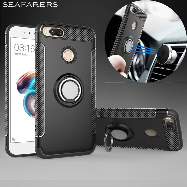 half off 43eef cb804 US $6.88 |Case For Xiaomi Mi A1 Car Holder Magnetic Suction Ring Bracket  Shockproof Rugged Armor Phone Cases For Xiaomi Mi 5X Back Cover-in Fitted  ...