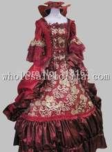 17 18th Century Baroque Rococo Dark Red Marie Antoinette Period Dress Halloween Costume  Cosplay Costume Dress