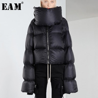 [EAM] 2019 Spring Woman Solid Color Long Sleeve Zipper Extra Long Sleeve Special Turtleneck Warm Thick Down Jackets LD973