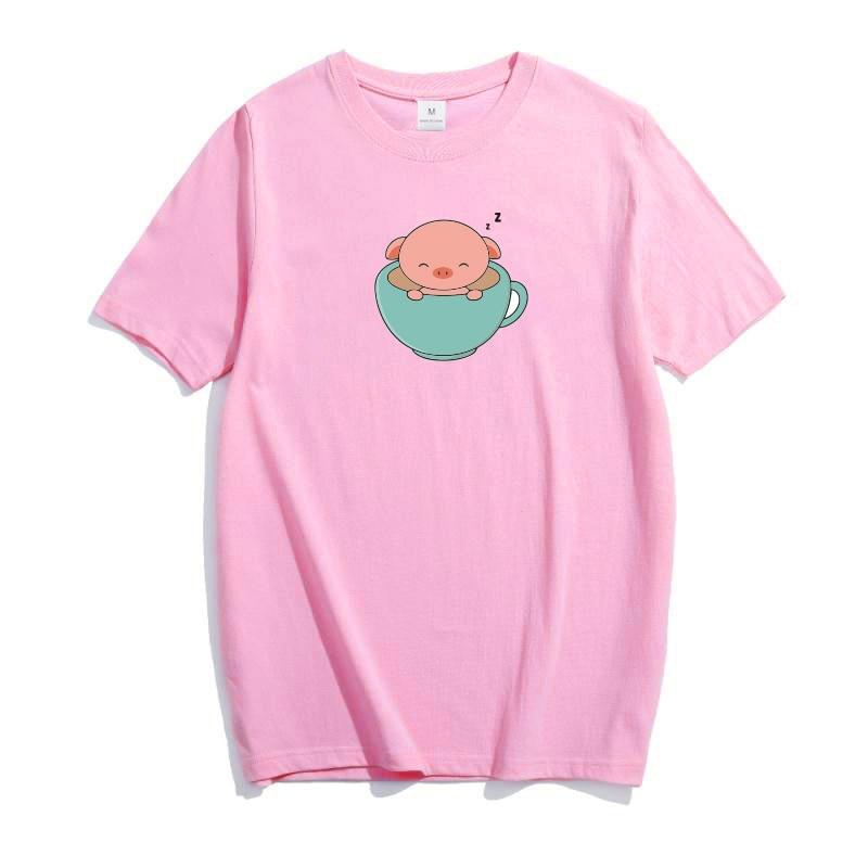 Little Pink Pet Pig T shirt Kawaii In Big Cup Summer Tops Cute Comfortable Cotton Cloth Women Plus Size
