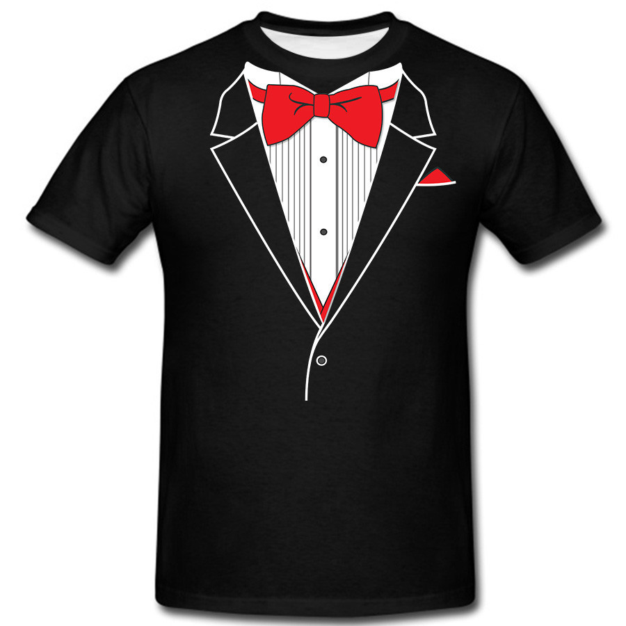 Unique funny tuxedo t shirt men fashion round neck short Bulk quality t shirts