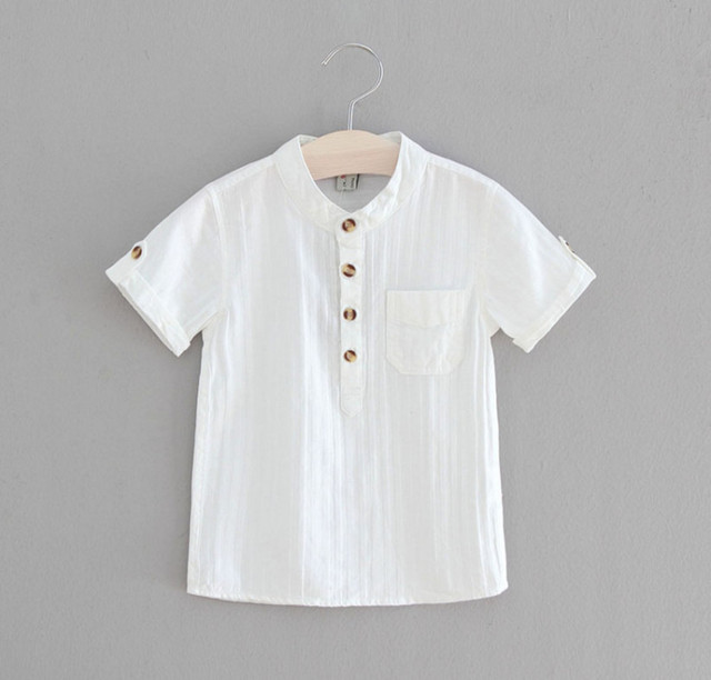 b7ec7f75fe8 2018 Casual Boys Shirts Baby Children Cotton Short Sleeve Blouse for Summer  Kids Boys White Shirt Stand Collar Handsome Tops