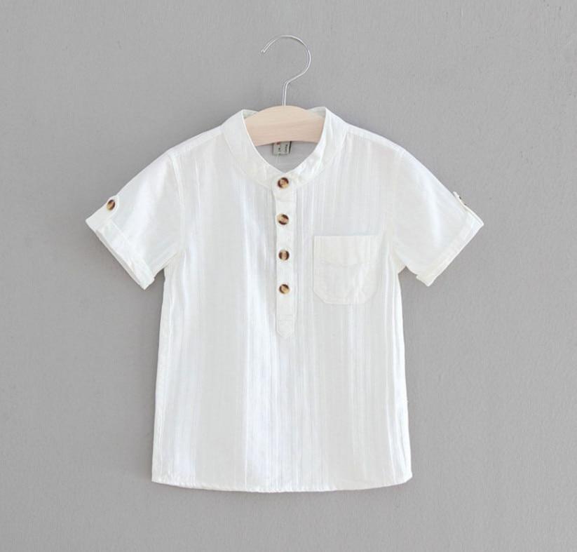 2018 meninos camisas do bebe criancas de algodao ocasional blusa de manga curta para o verao