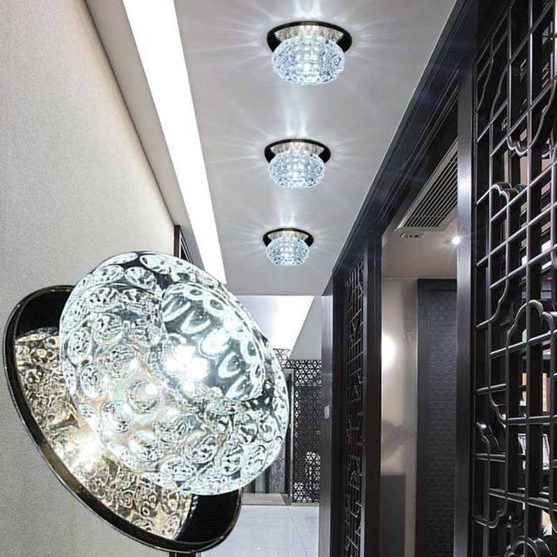 LAIMAIK AC90-260V 3W LED Ceiling Light for Living Room restaurant corridor lamp modern Crystal LED Ceiling lamp Free shipping europe type restoring ancient ways is the copper single head ceiling lamp restaurant corridor corridor led to ceiling lamp